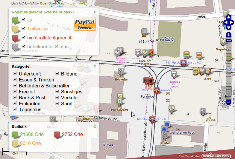 Screenshot vom Karlsruher Marktplatz in der Wheelmap