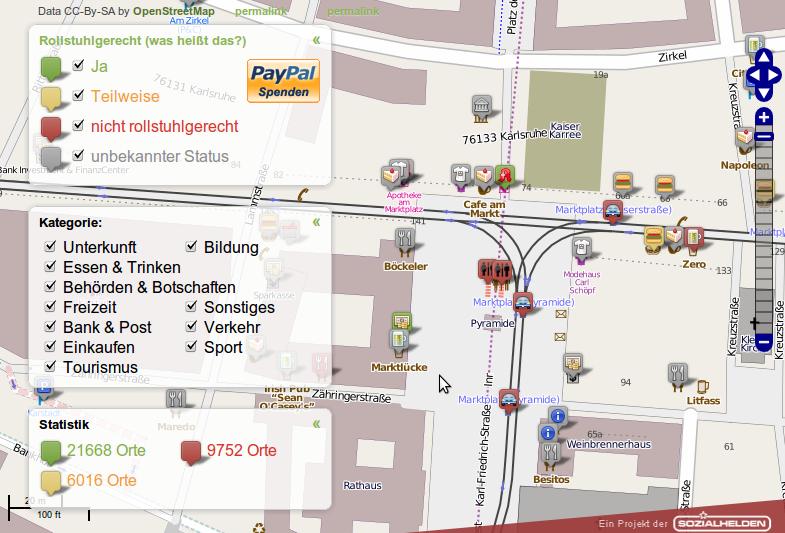 Screenshot vom Karlsruher Marktplatz in der Wheelmap